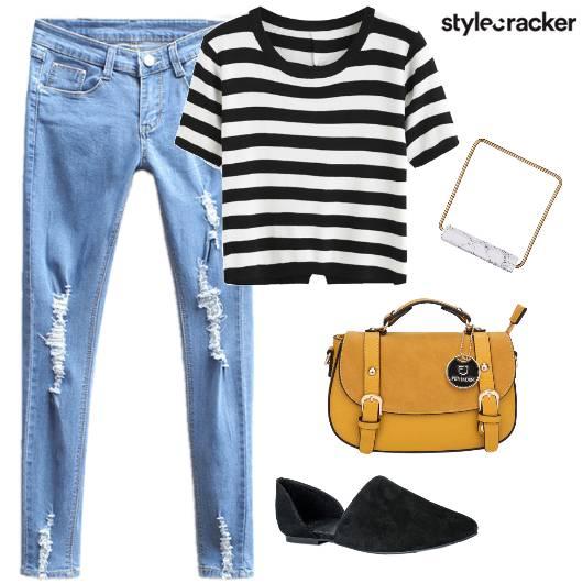 Denim Stripes Satchel Mules  - StyleCracker