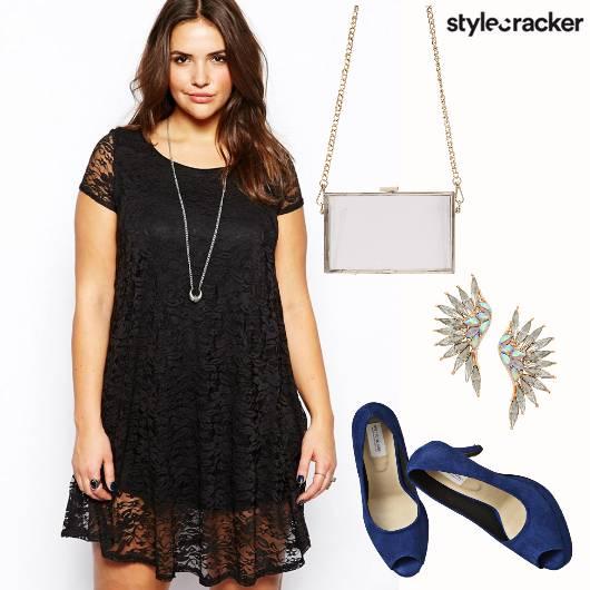 Dress Lace PeepToeHeels BoxClutch  - StyleCracker