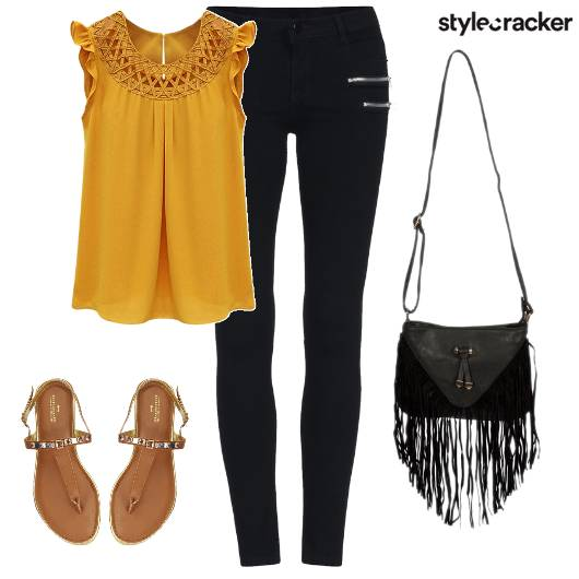 Casual Top Jeggings StrappyFlats - StyleCracker