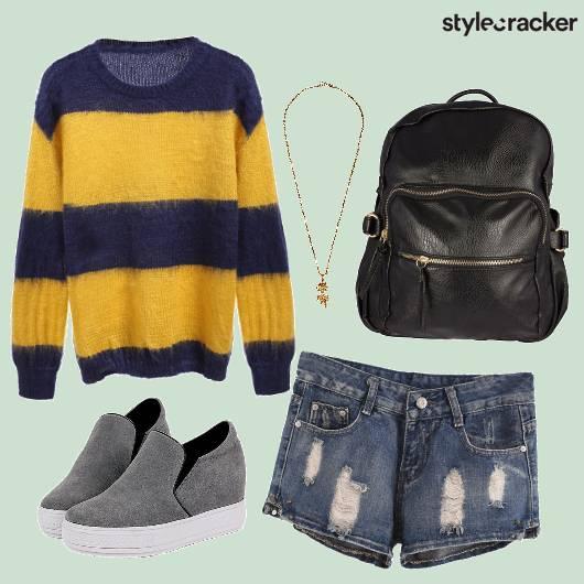 Striped Casual Sneakers Backpack College Wear - StyleCracker