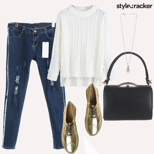 Casual Whitetop Basic Jeans  - StyleCracker