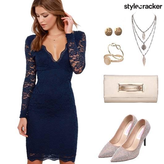 FullSleeves LaceDress FormalDinnerWear - StyleCracker