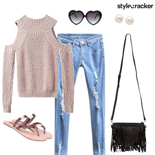 KnitTop RippedJeans Causual DayWear WinterFashion - StyleCracker