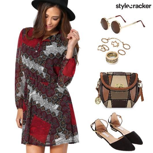 PrintedDress ColourBlockBag VintageSunglasses - StyleCracker
