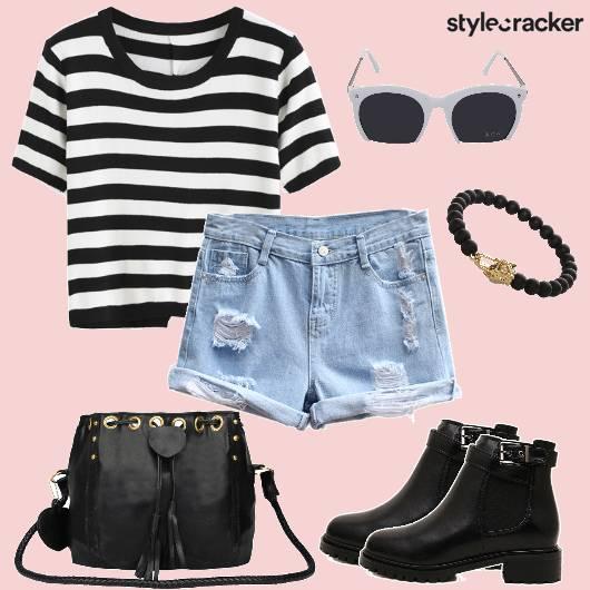 StripeTop Shorts Denim Casual DayWear  - StyleCracker