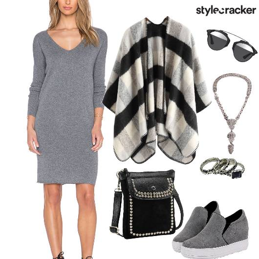 FullSleeves JerseyDress CheckeredCape - StyleCracker