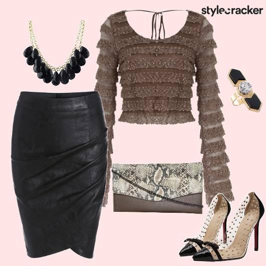 LeatherSkirt LaceDetail FullsleevesCroptop - StyleCracker