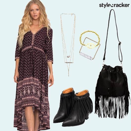 Asymmetrical Dress Fringe Vacation  - StyleCracker