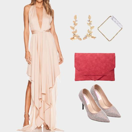Asymmetric Backless Maxidress ContrastClutch - StyleCracker