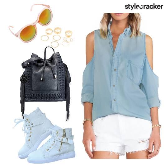 Casual DenimShirt ColdShoulder - StyleCracker
