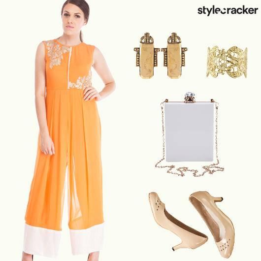 ContemporaryIndian EmbroideredJumpsuit BoxClutch  - StyleCracker