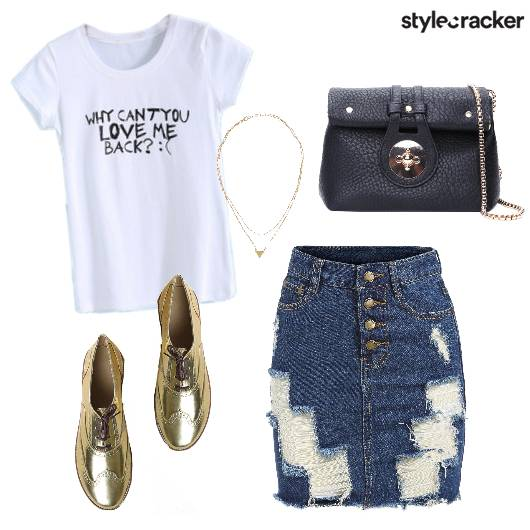 Casual Denim Skirt Tee  - StyleCracker