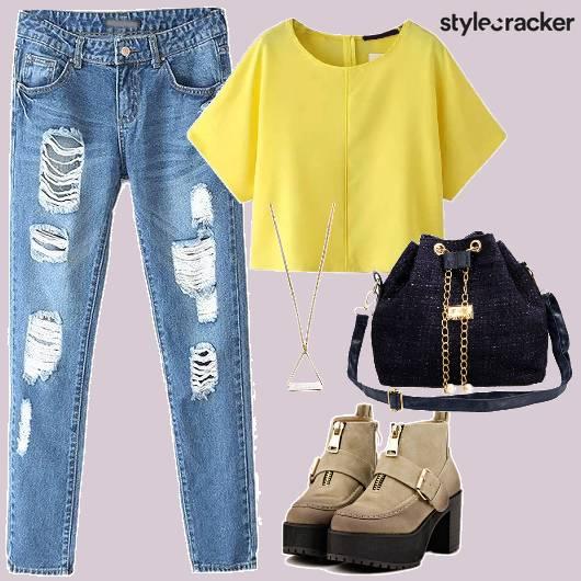 Ripped Jeans Crop Casual College Wear - StyleCracker