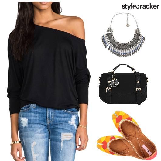 Casual RippedDenims OffShoulderTop ColourBlockJutti - StyleCracker