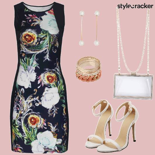 DinnerWear PrintedDress Earrings StrapyHeels - StyleCracker