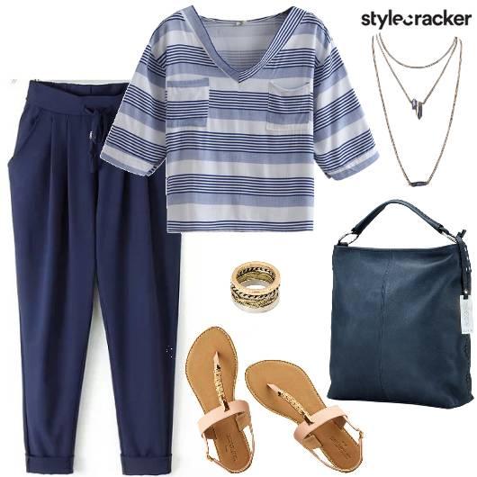 PleatedPants StripedShirt ToteBag - StyleCracker