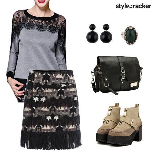 LaceDetails BasicTee PrintedSkirt Fringes - StyleCracker