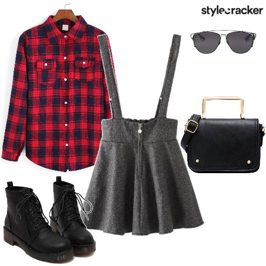 Checks CollarShirt KnitSkirt Dungarees  - StyleCracker