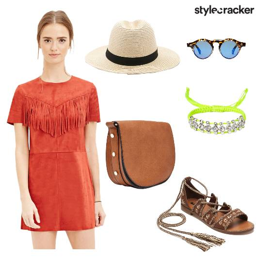 Fringe Dress Slingbag Bracelet Hat - StyleCracker