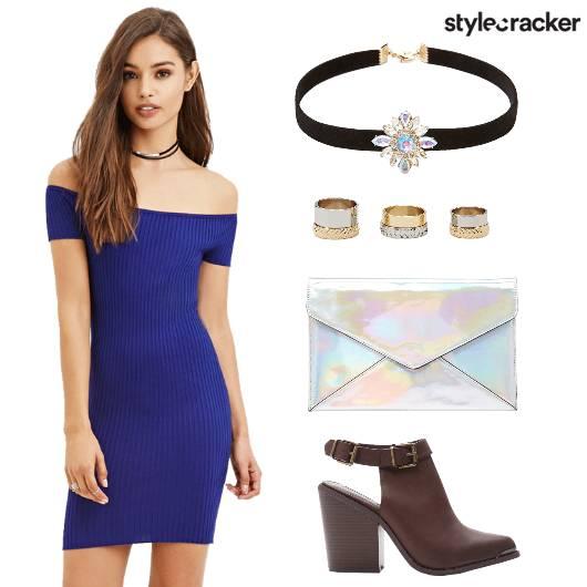 Bodycon Dress Choker Clutch Heels - StyleCracker