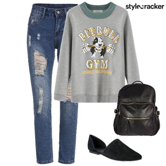 RippedDenim Sweater Mules Backpack  - StyleCracker