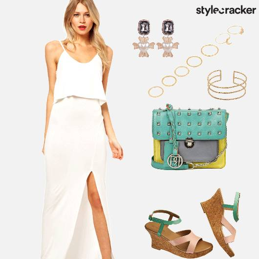 MaxiDress HighSlit ColourBlockBag  - StyleCracker