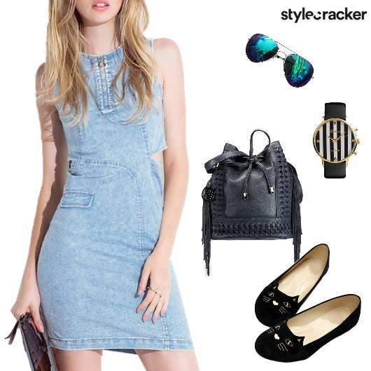 Denim Dress Flats Bucketbag Fringe  - StyleCracker