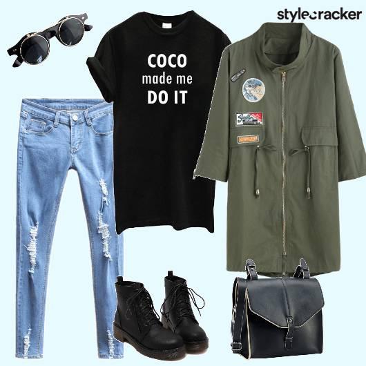 Casual Parka Tshirt Distressedjeans Laceupshoes Crossbodybag  - StyleCracker