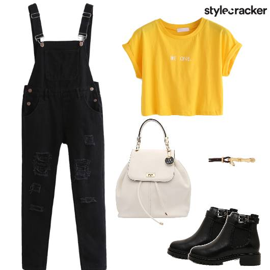 DistressedDungarees Backpack Croptop Boots Casual - StyleCracker