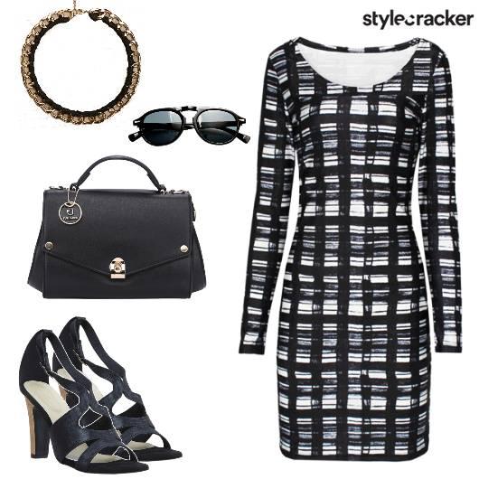 Printed ShiftDress Handbag ConeHeelShoes - StyleCracker