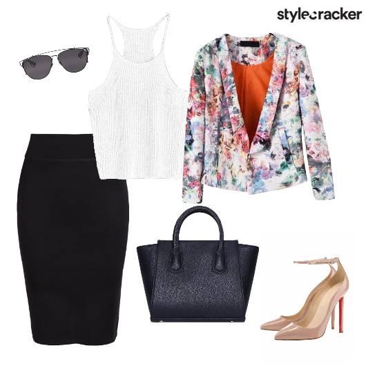 FloralBlazer PencilSkirt Croptop Workwear - StyleCracker