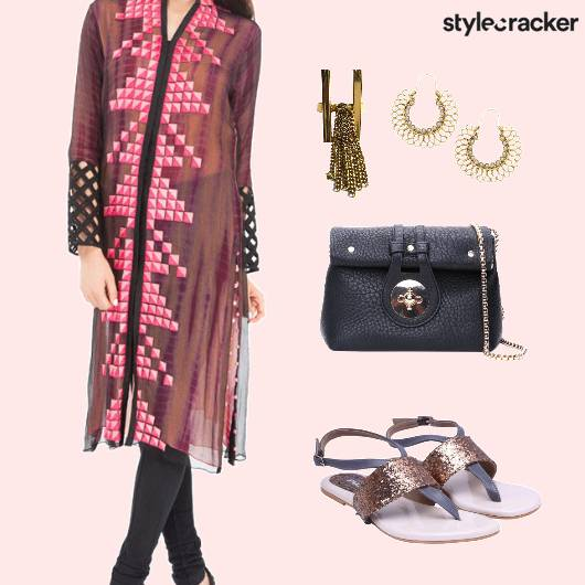 CasualIndian PrintedKurta GlitterFlats HoopEarrings - StyleCracker
