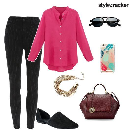 Buttondown Shirt Handbag Flats Workwear - StyleCracker