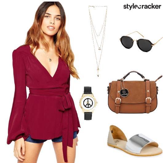 Wraptop Shorts Flats Slingbag Casual - StyleCracker
