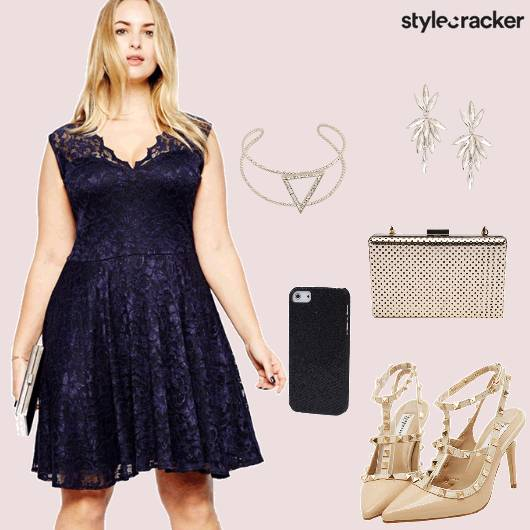 Lace Dress Flare Studdedheels Earrings party - StyleCracker