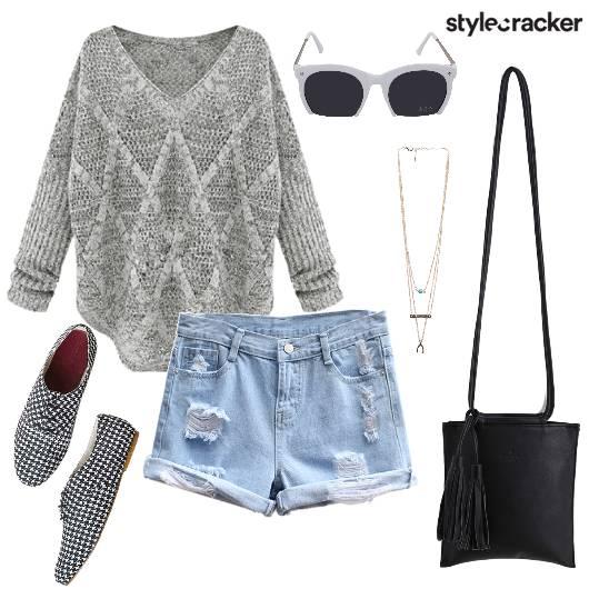 KnitTop Shorts Casual College DayWear - StyleCracker