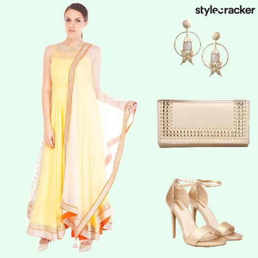 Anarkali Clutch Earrings Stilettos - StyleCracker