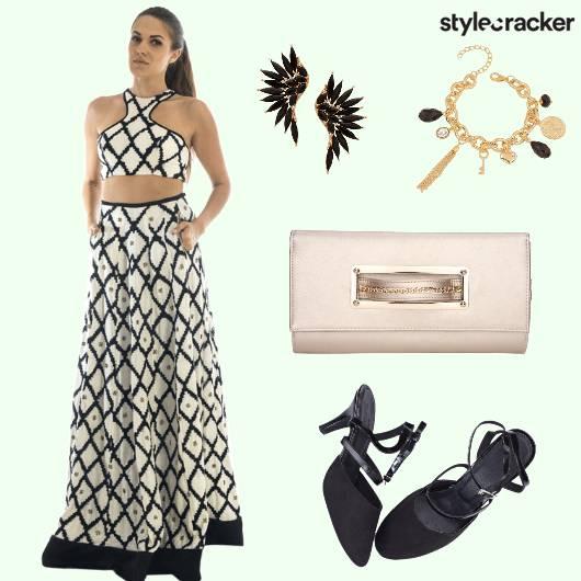 Lehenga Choli Clutch Bracelet Earrings - StyleCracker