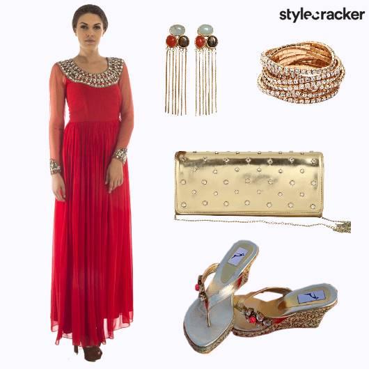Anarkali Clutch Earrings Wedges - StyleCracker