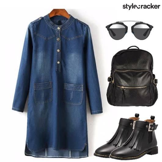 Denim Dress Boots Backpack Sunglasses - StyleCracker