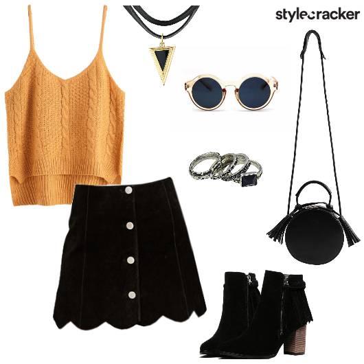 KnitTop ButtonSkirt Concert DayWear - StyleCracker