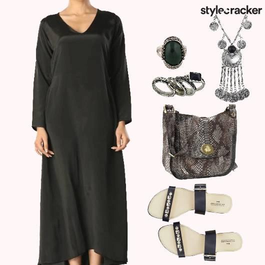 Asymmetric MaxiDress OxidisedSilver EmbellishedFlats   - StyleCracker