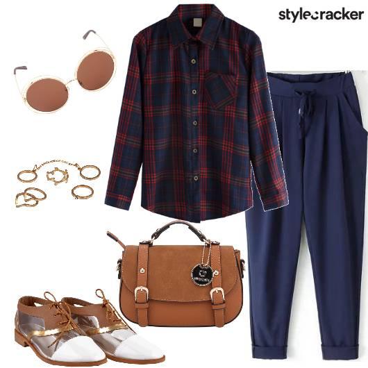 Plaids CollarShirt PleatedPants  - StyleCracker