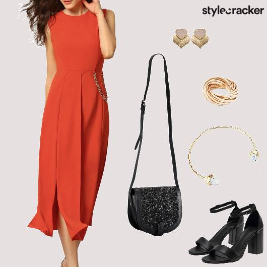 Midi Dress Blockheels Slingbag Party - StyleCracker