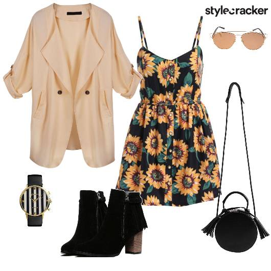 Floral Dress Jacket Boots Slingbag - StyleCracker