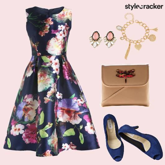 Floral PleatedDress EmbellishedSling - StyleCracker
