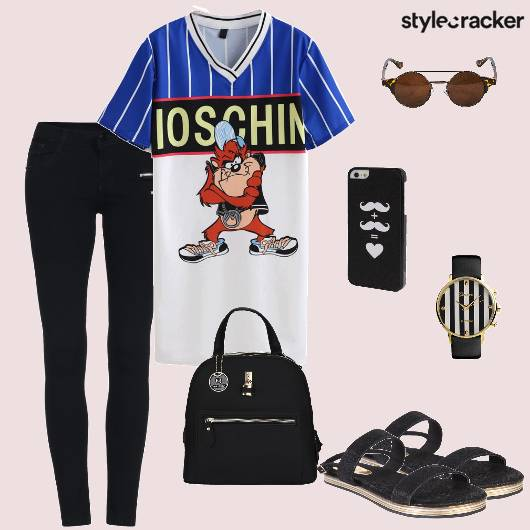 Tshirt Denims Flats Backpack Casual - StyleCracker
