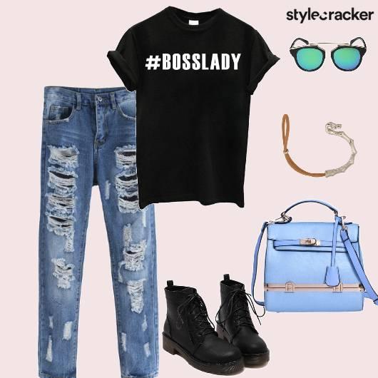 Tshirt Distressedjeans LaceupBoots Handbag Casual - StyleCracker
