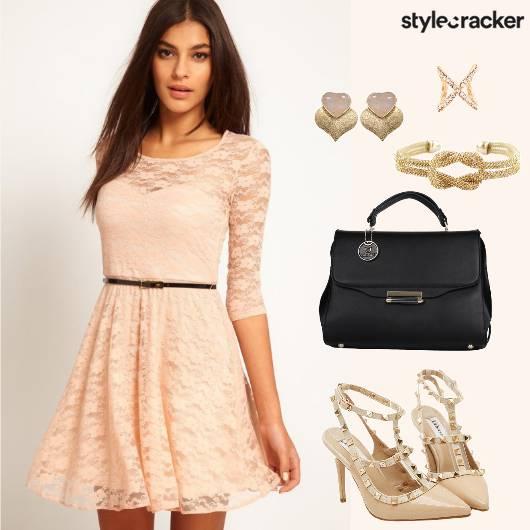 LaceSkaterDress HandBag StuddedPumps - StyleCracker