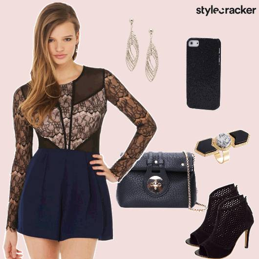 Playsuit Slingbag Heels Party Lace - StyleCracker